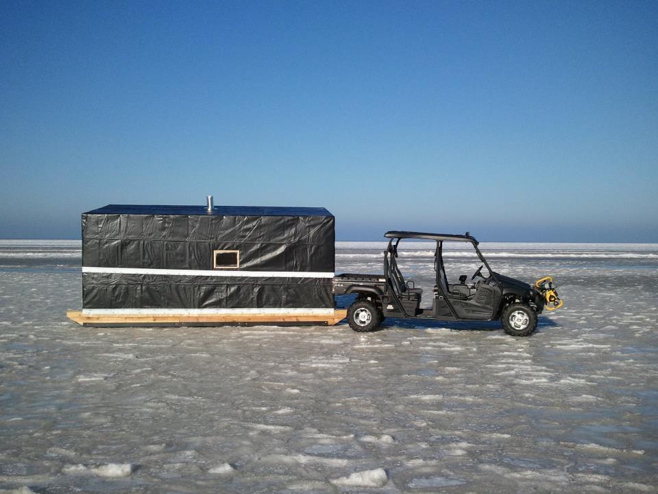 Ice shack rental sleeper shack rentals the bay of for Ice fishing shacks